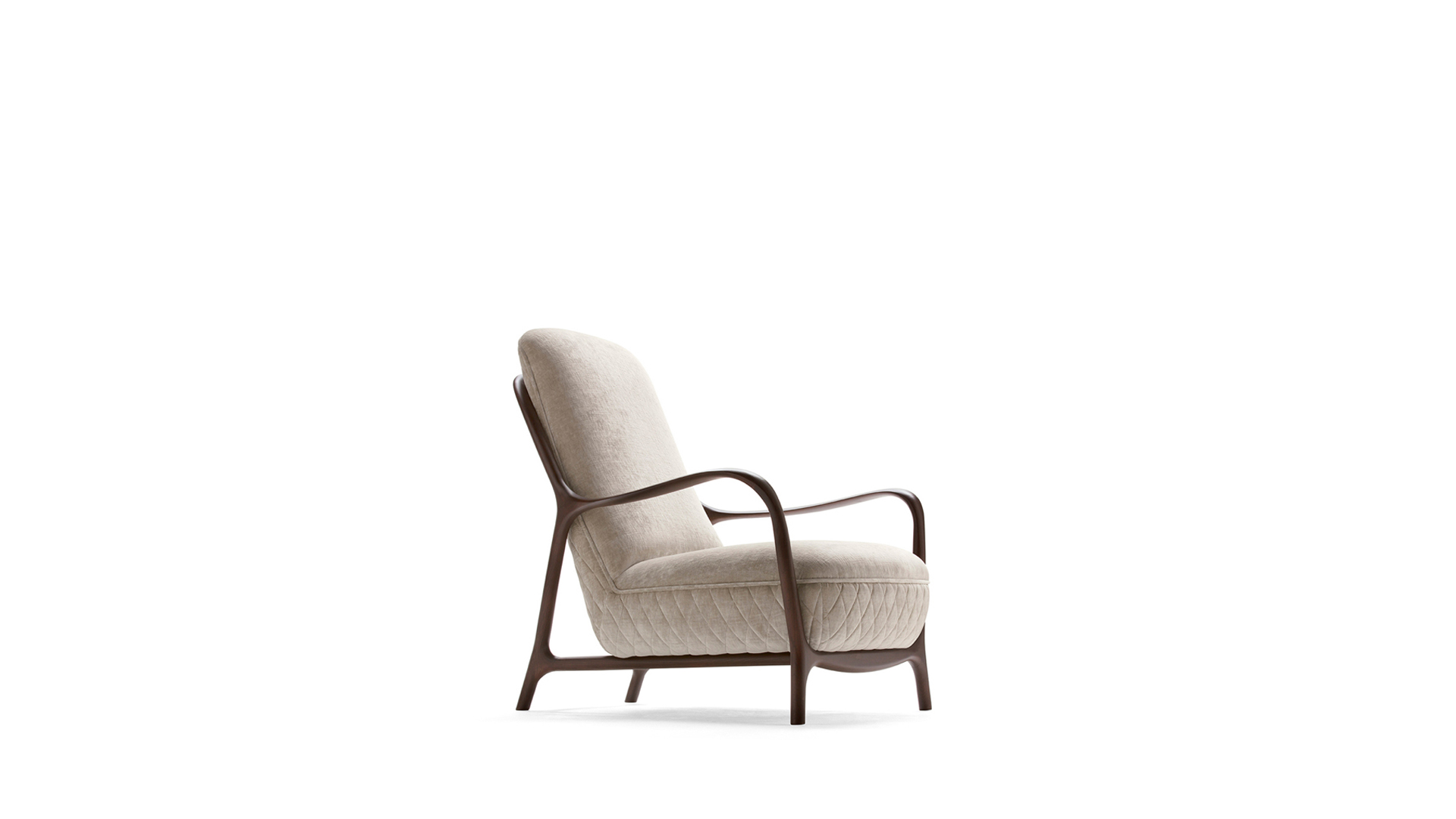 Armchair with solid wood frame