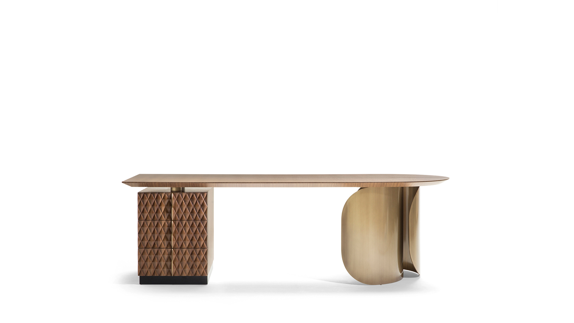Desk with wood and metal frame