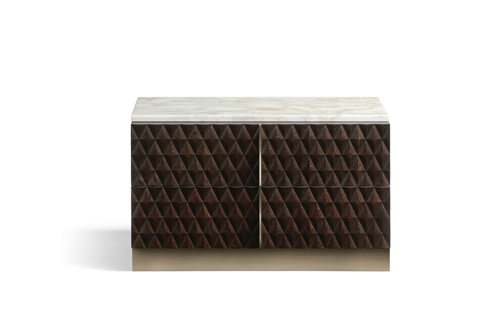 Two-drawer bedside table with diamond pattern